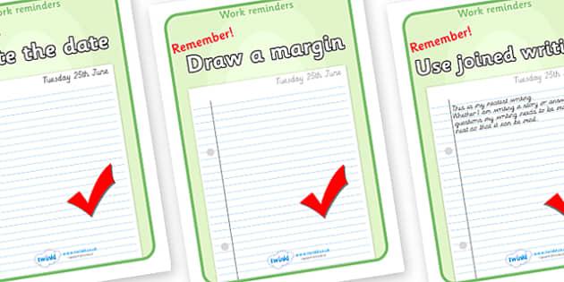 Work Reminder Display Posters - work, reminder poster, reminder, sign, poster, display, remind, work reminder, date, margin, pen, pencil, joined, KS2