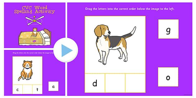 CVC Word Spelling Flipchart Activity - cvc, spelling, flipchart