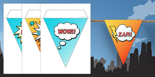 Superhero Themed Birthday Party Picture Bunting - birthday, props