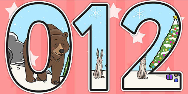 The Bear and the Hare Themed A4 Display Numbers - numbers, A4