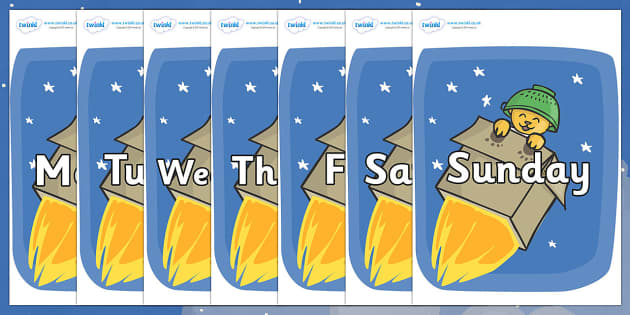 Days of the Week on Rockets (Whatever Next) to Support Teaching on Whatever Next! - Days of the Week, Weeks poster, week, display, poster, frieze, Days, Day, Monday, Tuesday, Wednesday, Thursday, Friday, Saturday, Sunday
