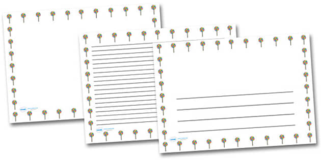 Swirly Lollypop Landscape Page Borders- Landscape Page Borders - Page border, border, writing template, writing aid, writing frame, a4 border, template, templates, landscape