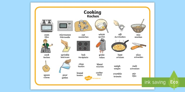 cooking word mat english german   cooking word mat eal