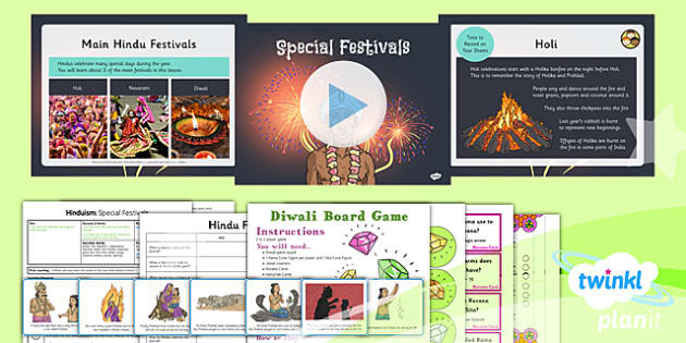 PlanIt - RE Year 3 - Hinduism Lesson 4: Special Festivals Lesson Pack - hinduism, festivals, holi, navratri, diwali