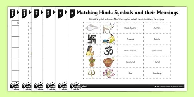 Hinduism Activity Sheet Matching Hindu Symbols and their Meanings - Aum/Om, padma, trishul, pranama, hindu swastika, religion, key stage 2, ks2, RE, religion, worksheet