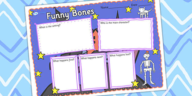Book Review Writing Frame to Support Teaching on Funnybones - funny bones, book review, writing frame, book review writing frame, writing aid, writing template, writing