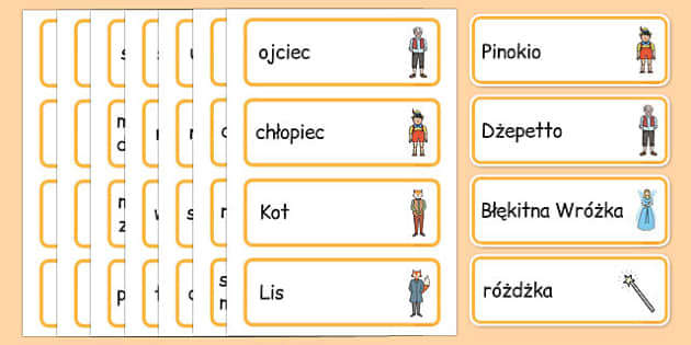 Karty ze słownictwem Pinokio po polsku - bajki, basnie