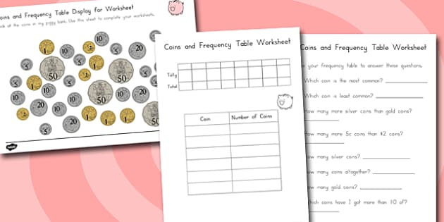 Coins in Piggy Bank Worksheet - australia, coins, piggy bank, worksheet