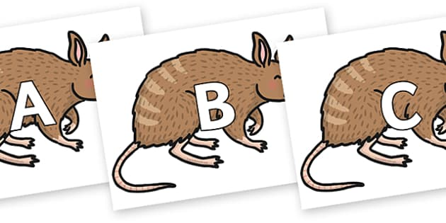 A-Z Alphabet on Bandicoot - A-Z, A4, display, Alphabet frieze, Display letters, Letter posters, A-Z letters, Alphabet flashcards