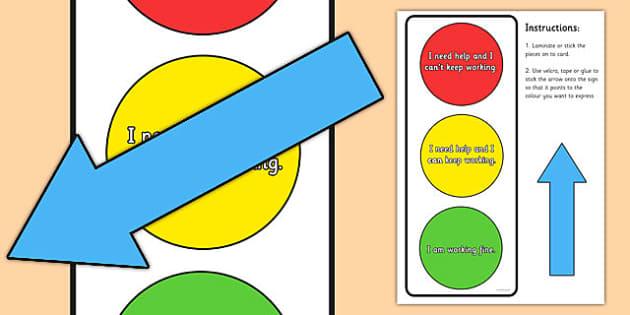 Traffic Light Help Sign - traffic light working sign, I need help sign, how well I am working sign, self help sign, self assessment sign, behaviour, sen