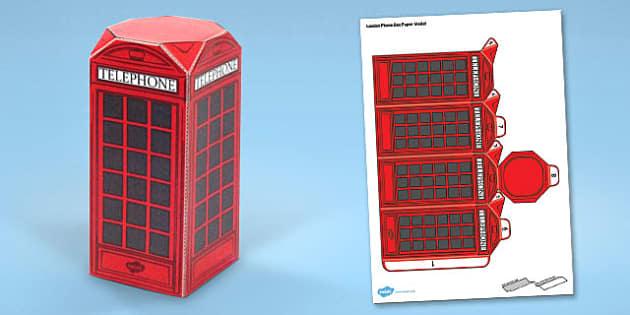 London Phone Box Paper Model - london, phone box, paper, craft