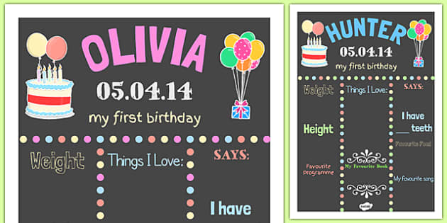 Editable Birthday Boards - birthday, first birthday, sign, poster, display, celebration, event, celebrate, occasion, party, edit, change, personalise