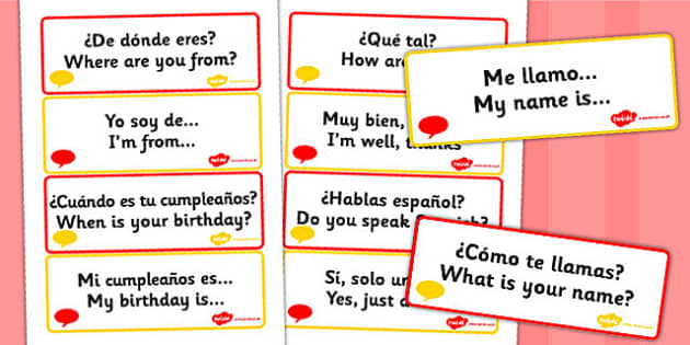 Spanish Basic Phrases Word Cards - Spain, visual, aid, literacy