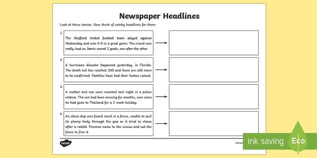 Newspaper Headline Writing Worksheet Higher Ability - newspaper headlines, newspapers, newspaper worksheet, newspaper headline writing, ks2 literacy