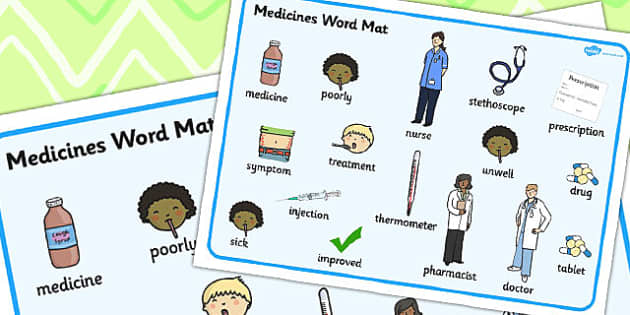 Medicine Word Mat - Medicine, Word, Mat, Pills, Tablets, Words