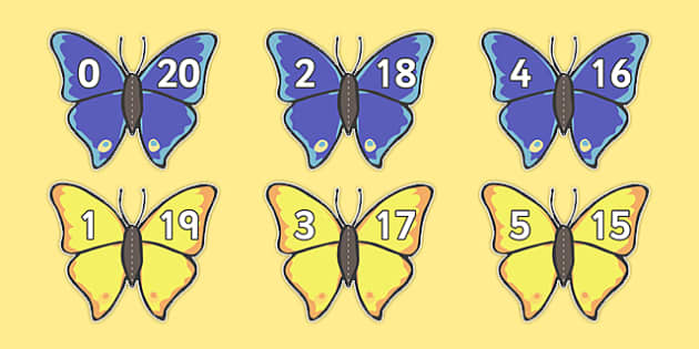 Number Bonds to 20 Matching Cards (Butterflies) - Number Bonds, Butterfly, butterflies Matching Cards, Number Bonds to ten, counting, number recognition