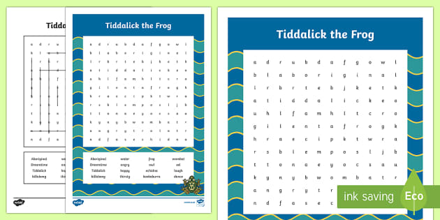 Tiddalick the Frog Word Search-Australia