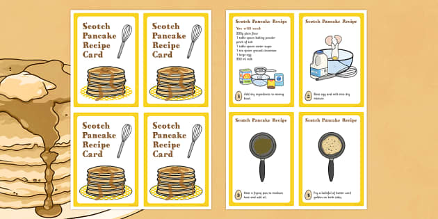 Scotland Scotch Pancake Recipe Card - pancake, recipe, scotland