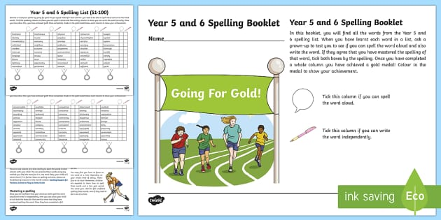 Going For Gold! Year 5 and 6 Spelling Booklet Checklist