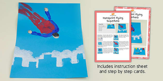 Handprint Flying Superhero Craft Instructions - craft, handprint