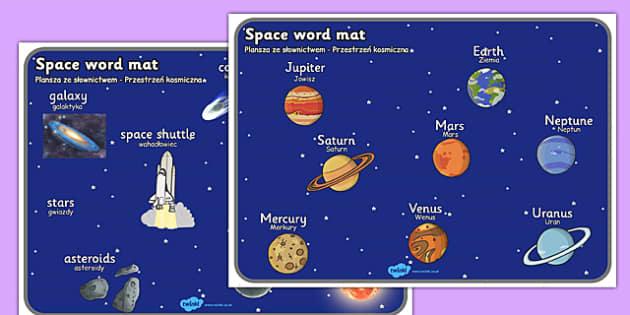Space Word Mat Polish Translation - polish, space, word mat, word, mat, planets, galaxy, science, universe