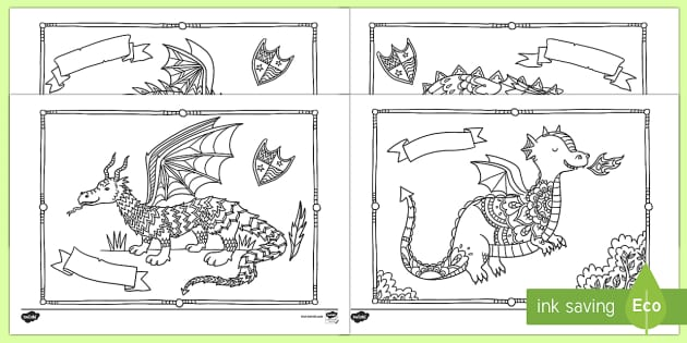 Dragons Mindfulness Colouring Sheets - Mindfulness Colouring