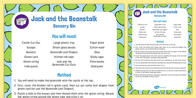 Jack and the Beanstalk Sensory Bin and Resource Pack - EYFS, Story, Literacy