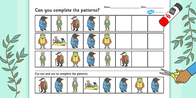 Wind in the Willows Themed Complete the Pattern Worksheet - wind