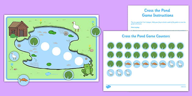 Cross the Pond Frog Game - EYFS, Early Years, life cycle, taking turns, PSED