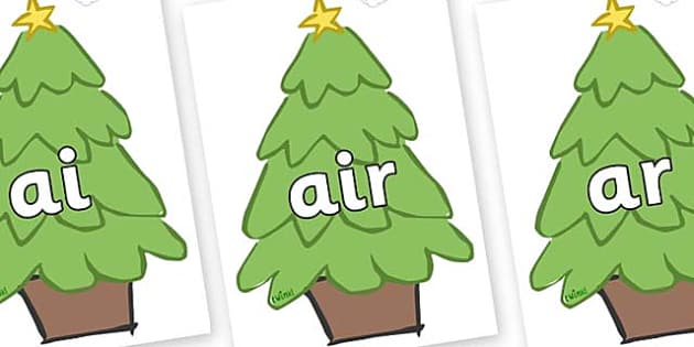 Phase 3 Phonemes on Christmas Trees (Plain) - Phonemes, phoneme, Phase 3, Phase three, Foundation, Literacy, Letters and Sounds, DfES, display