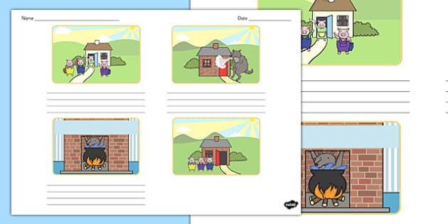 T T 17023 The Three Little Pigs Storyboard Template on Jonah And The Big Fish Story Sequencing
