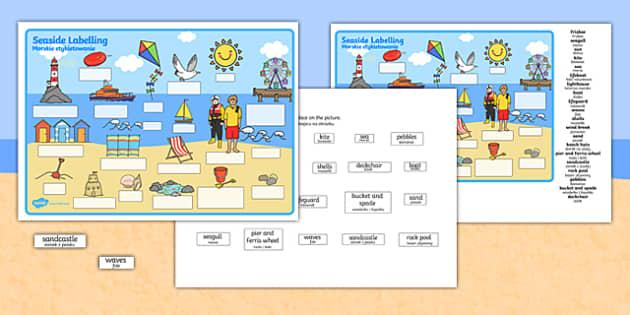 Seaside Scene Labelling Activity Sheet Polish Translation - polish, seaside, beach, seaside labelling worksheets, seaside scene worksheets, seaside key words worksheet, seaside words