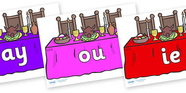 Phase 5 Phonemes on Dining Tables (Multicolour) - Phonemes, phoneme, Phase 5, Phase five, Foundation, Literacy, Letters and Sounds, DfES, display