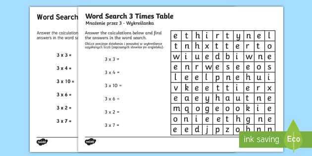 Multiplication 3 Times Tables Word Search Activity Sheet