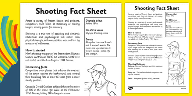 The Olympics Shooting Fact Sheet - the olympics, rio olympics, 2016 olympics, rio 2016, shooting, fact sheet