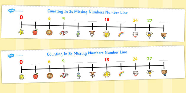 Counting In 3s Missing Numbers Number Line - counting, number