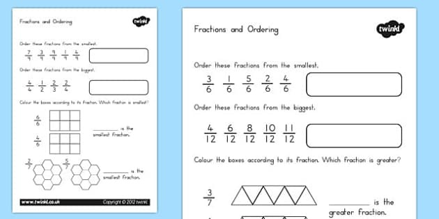 Fractions and Ordering Worksheet - australia, fractions, ordering