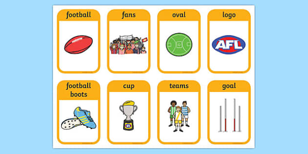 Australian Football League Flashcards - AFL, visual aid, sport