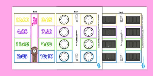Time Writing Clocks Foldable Visual Aid Template Polish Translation - polish, Time writing