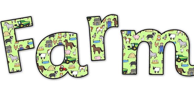 'Farm' Display Lettering - farm display lettering, farm display letters, farm lettering, farm display, farm display title, on the farm, on the farm letters