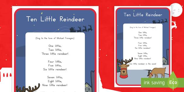 Ten Little Reindeer Song Lyrics
