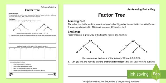 Trees Activity Sheet worksheet – Factor Trees Worksheets