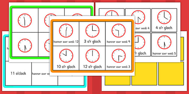 Half Past and O'Clock Bingo (Welsh)