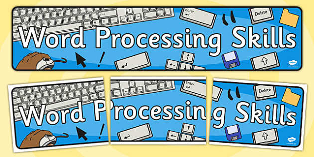 Word Processing Skills Display Banner - Word, Skills, Display