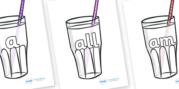 Foundation Stage 2 Keywords on Milkshakes - FS2, CLL, keywords, Communication language and literacy,  Display, Key words, high frequency words, foundation stage literacy, DfES Letters and Sounds, Letters and Sounds, spelling