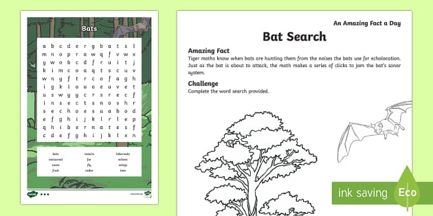 Bats Word Search Activity Sheet, worksheet