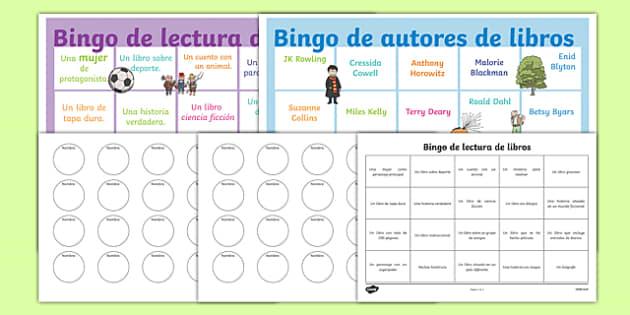 Bingo de autores de libros Book Reading Bingo Spanish-Spanish
