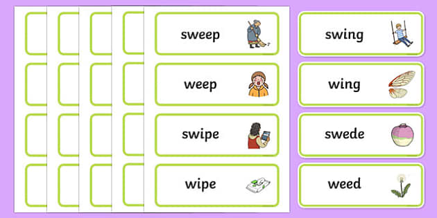 'sw' and 'w' Near Minimal Pair Word Cards