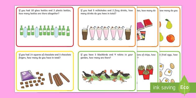 KS1 Addition Word Problem Challenge Cards - challenge, cards