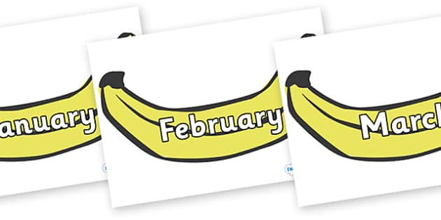 Months of the Year on Bananas - Months of the Year, Months poster, Months display, display, poster, frieze, Months, month, January, February, March, April, May, June, July, August, September